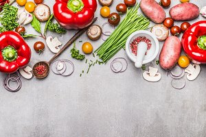 Tasty vegetarian cooking background