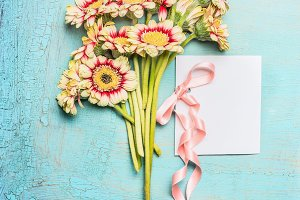 Flowers bunch with card, mock up