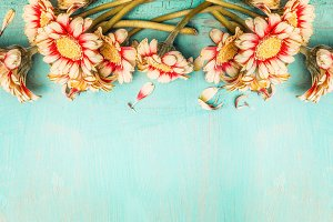 Flowers on turquoise shabby chic