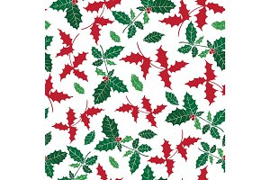Vector holly berry holiday seamless pattern background. Great for winter themed packaging, giftwrap, gifts projects.