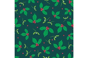 Vector dark green, red holly berry and mistletoe holiday seamless pattern background. Great for winter themed packaging, giftwrap, gifts projects.