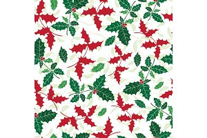 Vector holly berry green, red holiday seamless pattern background. Great for winter themed packaging, giftwrap, gifts projects.