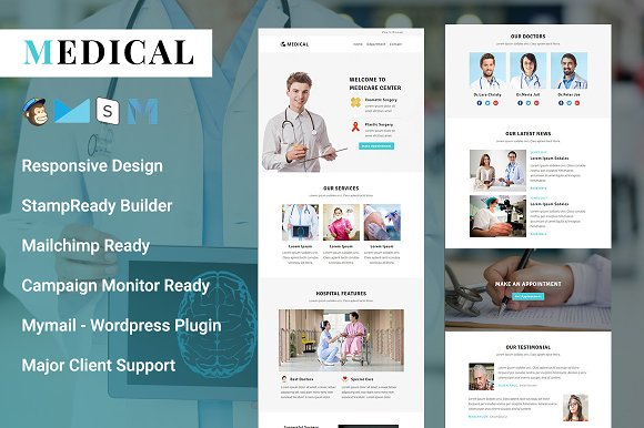 Medical Responsive Email Template Email Templates Creative Market