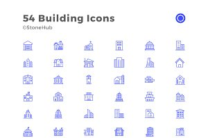 54 Minimalist Building icons