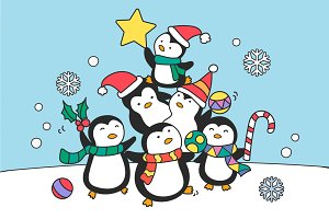 Dancing Christmas penguins vector