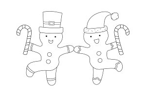 Dancing gingerbread men vector