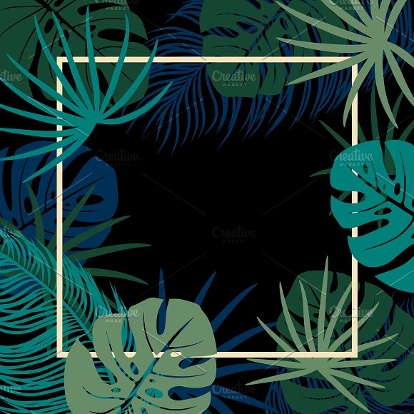 Tropical leaves with copy space