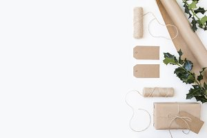 Gift Wrapping Flat Lay