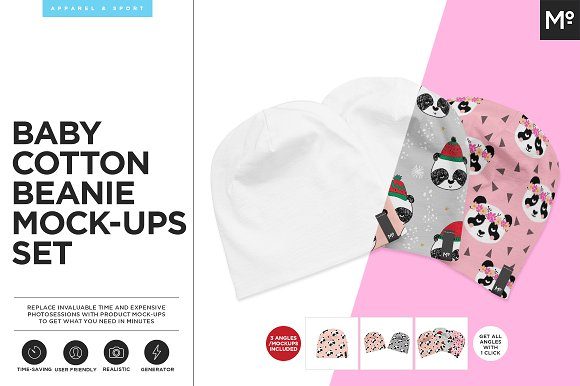 Baby Cotton Beanie Mock-ups Set