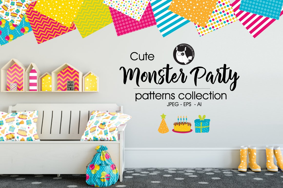 MONSTER PARTY Pattern collection ~ Graphic Patterns ~ Creative Market