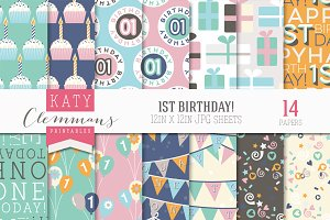 1st Birthday patterned papers