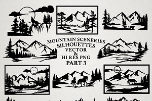 Mountain Sceneries Vector Pack