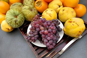 Autumn fruits on a tray