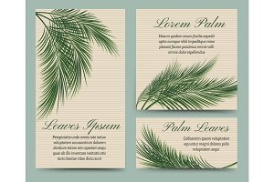 Palm leaves retro cards set