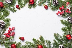 Christmas frame background with decorations.