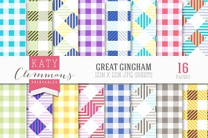 Great Gingham patterned papers