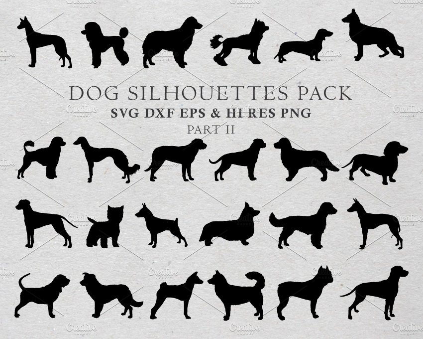 Dog Silhouettes Vector Pack 2 ~ Illustrations ~ Creative