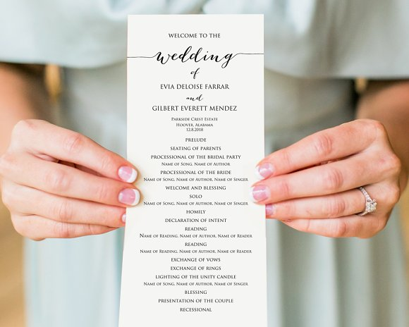 Wedding program template stationery templates creative market wedding program template stationery pronofoot35fo Choice Image