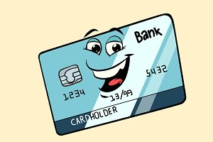 Bank card cute smiley face character