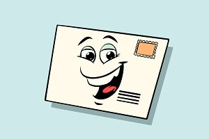 letter mail envelope cute smiley face character
