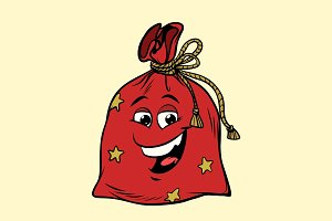 gift Santa sack cute smiley face character
