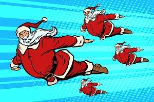 Santa team is flying in the sky