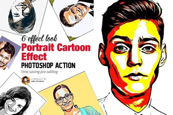 Portrait Cartoon Effect Action Actions Creative Market