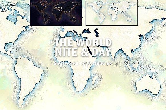 World Map Night & Day Illustration ~ Illustrations ~ Creative Market