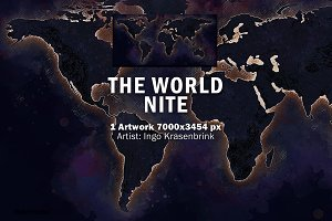 World Map Night Ilustration