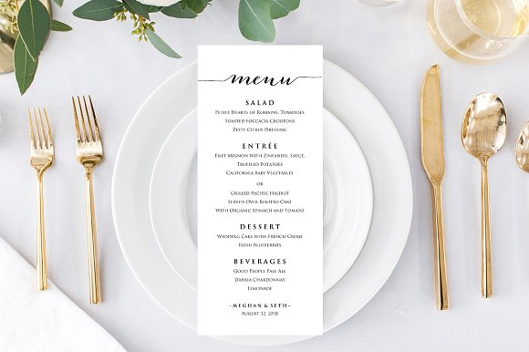 wedding reception menu template stationery templates creative market