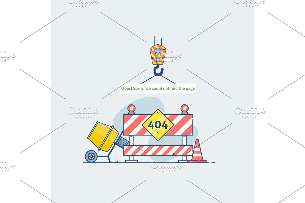 Error 404 page with road construction signs Page is lost and not found  message  Template for web page with 404 error  Modern line design
