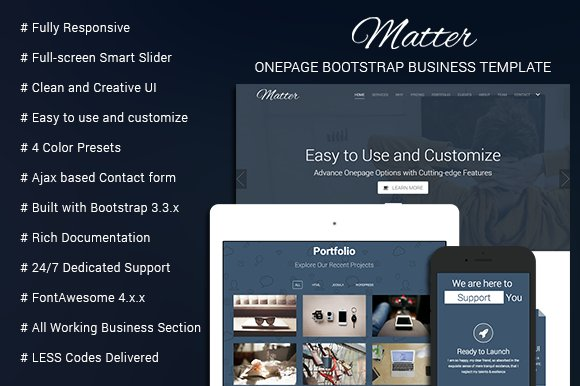 Matter onepage business template bootstrap themes creative market matter onepage business template bootstrap accmission Images