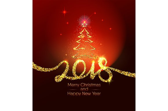 christmas and happy new year 2018 gold typography sign on dark red background objects