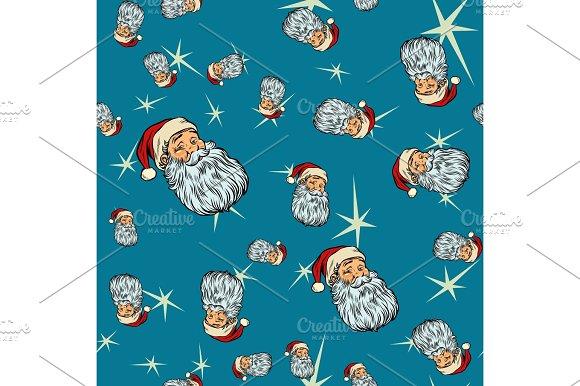 Head Santa Claus Christmas Seamless Background