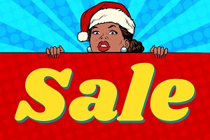 African Santa girl and sales poster