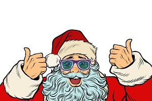 isolated white background Santa Claus funny glasses