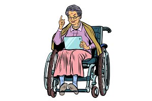 Caucasian elderly woman disabled person in a wheelchair