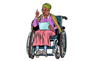 African elderly woman disabled person in a wheelchair, isolate o