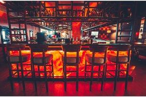 Modern interior of empty luxury restaurant