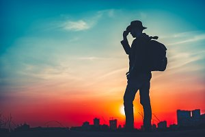 Travel Concept. Silhouette of a man with backpack