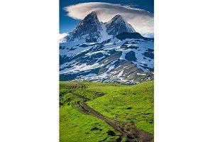 Summer landscape with Ushba mountain snowy peak
