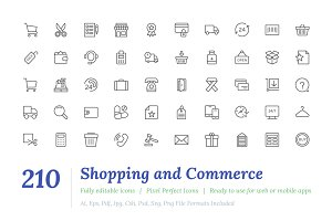 210 Shopping Line Icons