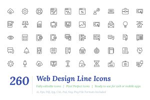 260 Web Design Line Icons