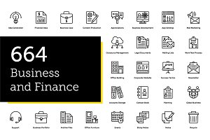 664 Business and Finance Line Icons