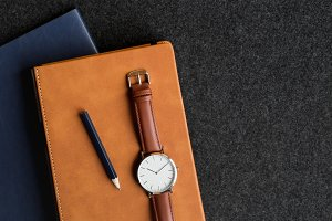 Watch & Notebooks With Copy Space