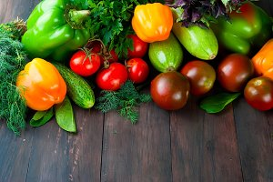 Green, yellow and red vegetables