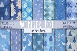 Winter Foil digital papers