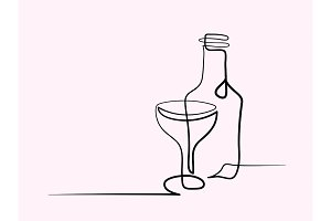 Wine and glass contour. Black outline vector.