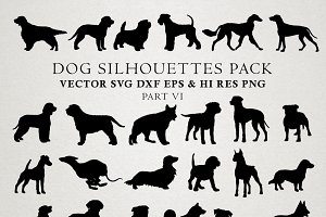 Dog Silhouettes Vector Pack 6