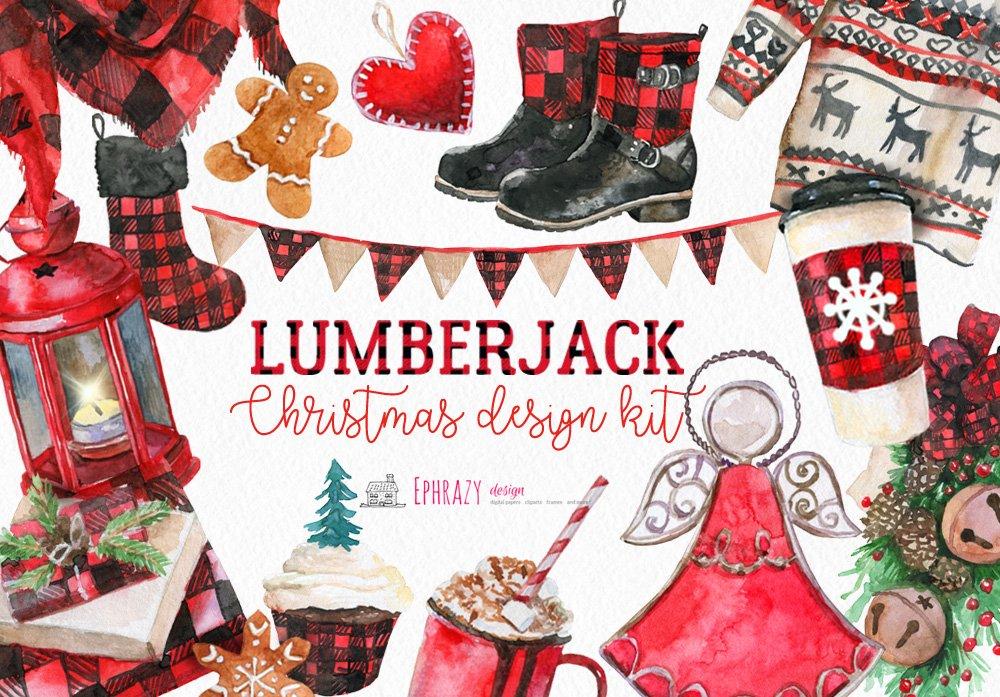 Christmas clipart. Buffalo plaid ~ Illustrations ...